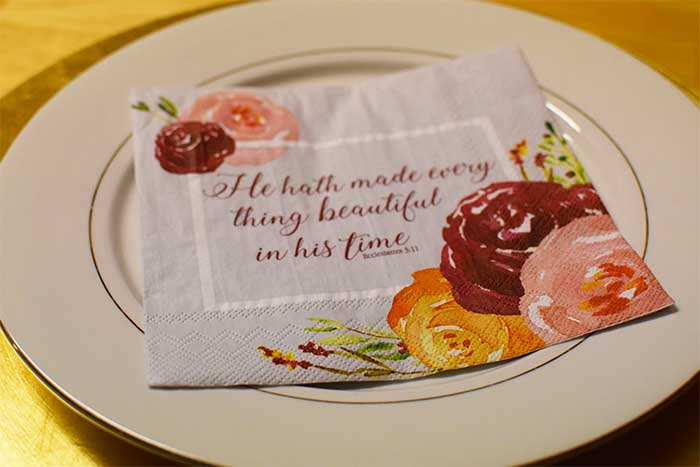 Inspirational napkins for your table