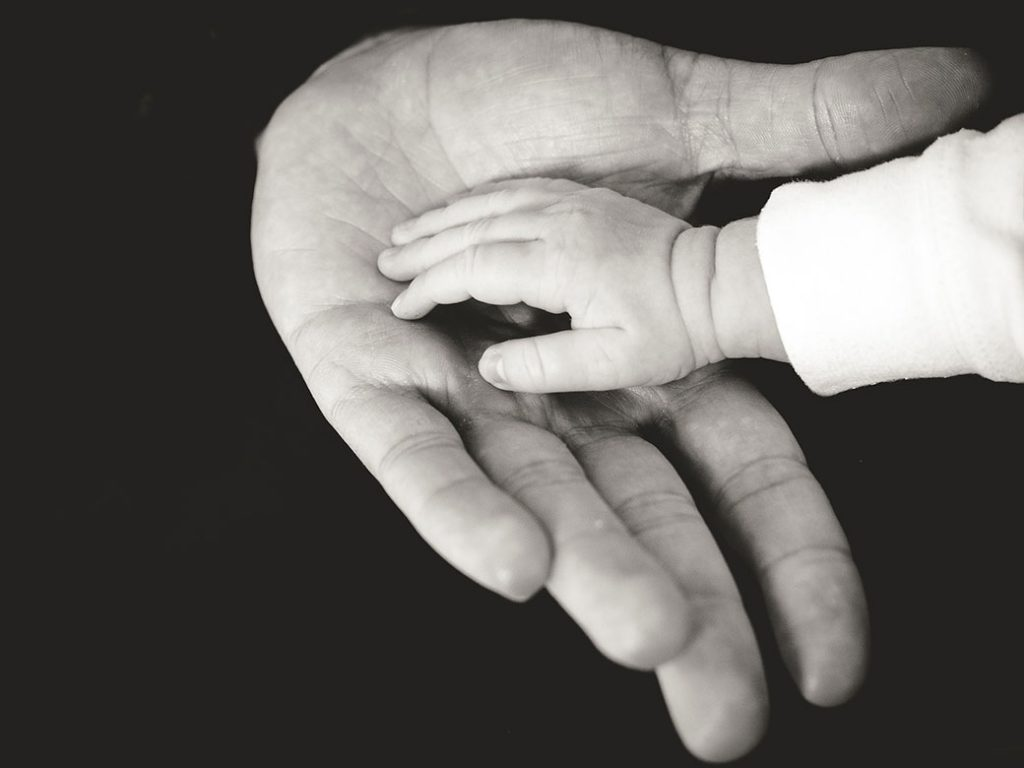 Baby hands inside the father's hand
