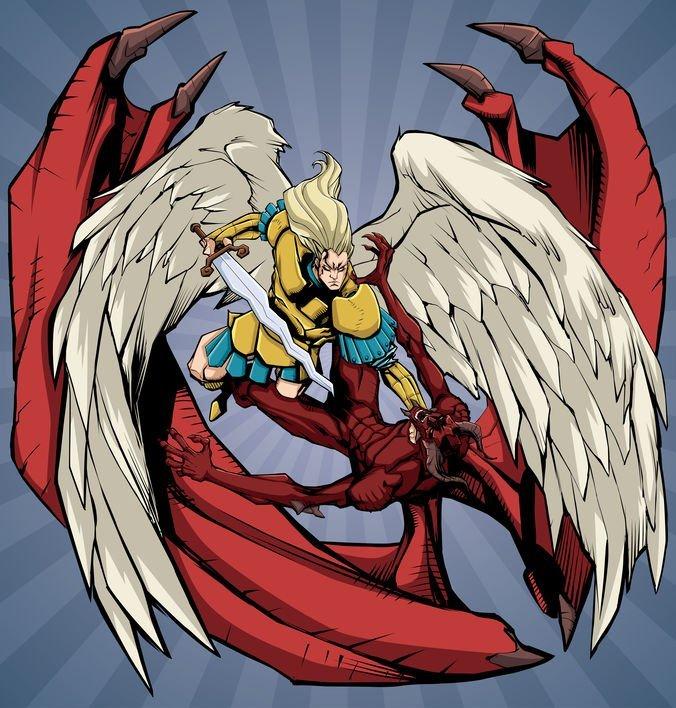 Illustration of Archangel Michael defeating Satan.